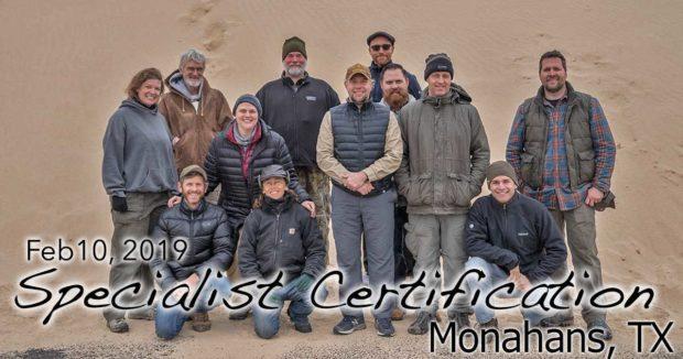 Monahans TX Specialist Certification 2/10/2019